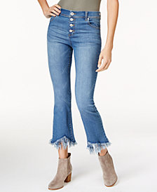 I.N.C. Cropped Fringe-Trim Jeans, Created for Macy's