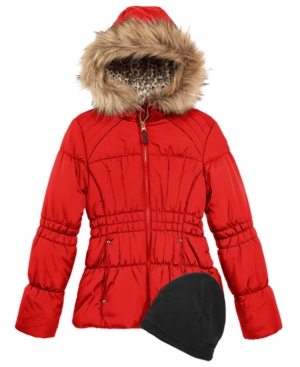 Weathertamer Hooded Puffer Coat With FauxFur Trim  Hat Big Girls (716)