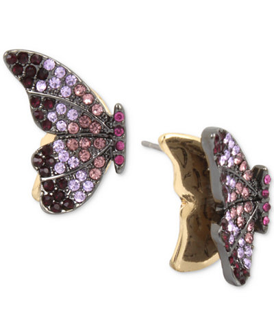 Betsey Johnson Hematite-Tone Pavé Crystal Butterfly Stud Earrings