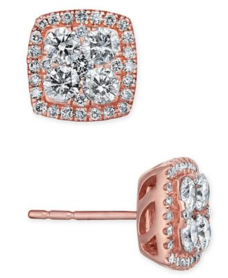 Diamond Square Halo Cluster Stud Earrings (7/8 ct. t.w.) in 14k Rose Gold