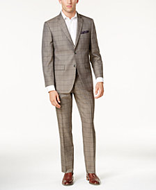 Perry Ellis Men's Slim-Fit Taupe Windowpane Suit
