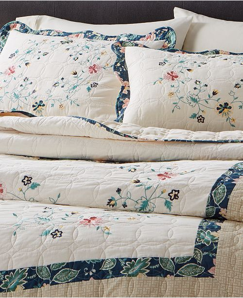 Martha Stewart Collection Embroidered Wreath Bedspread