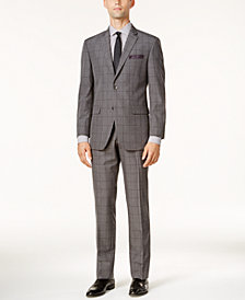 Perry Ellis Men's Slim-Fit Gray Windowpane Suit