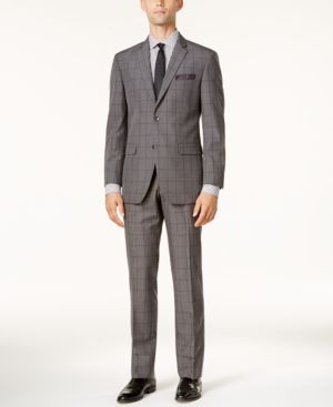 Perry Ellis Men's Slim-Fit Gray Windowpane Suit thumbnail
