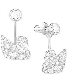 Swarovski Silver-Tone Crystal and Pavé Swan Earring Jackets