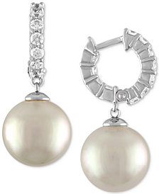 Majorica Sterling Silver Cubic Zirconia & Imitation Pearl Hoop Earrings