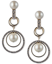 Carolee Gold-Tone Imitation Pearl & Pavé Orbital Drop Earrings