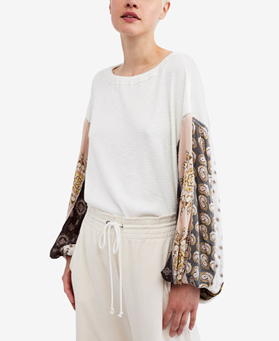 Free People Blossom Printed Balloon-Sleeve Thermal Sweater