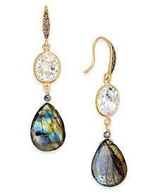 Paul & Pitü Naturally Gold-Tone Stone Drop Earrings
