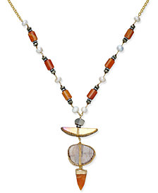 Paul & Pitü Naturally Tri-Tone Pavé, Imitation Pearl & Orange Stone Pendant Necklace