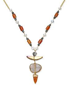 Paul & Pitü Naturally Tri-Tone Pavé, Imitation Pearl & Orange Stone Pendant Necklace
