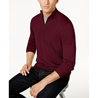 Deals on Club Room Mens Quarter Zip Merino Wool Blend Sweater