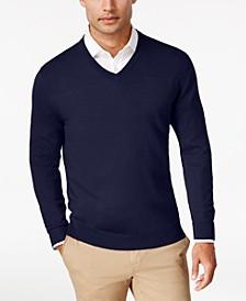 Men's Solid V-Neck Merino Wool Sweater, Created for Macy's
