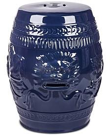 Vardi Lion Ceramic Garden Stool, Quick Ship