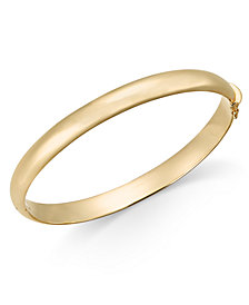 Polished Solid Bangle Bracelet in 14k Gold