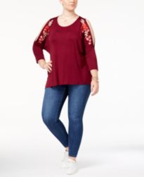 Eyeshadow Trendy Plus Size Embroidered Cold-Shoulder Top & Celebrity Pink Skinny Jeans