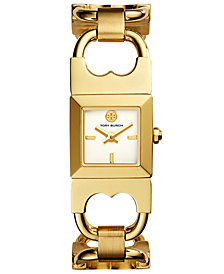 Tory Burch Women's Double T Link Gold-Tone Stainless Steel Bracelet Watch 18x18mm