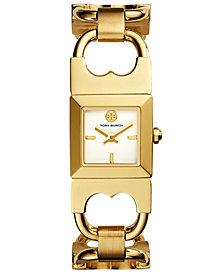 Tory Burch Women's Double T Link Gold-Tone Stainless Steel Bracelet Watch 18x18mm