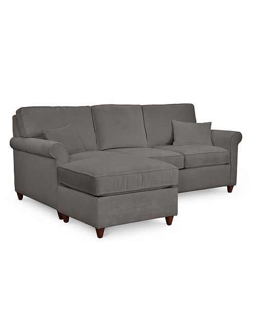 Lidia 82 Fabric 2-Pc. Reversible Chaise Sectional Sofa with Storage  Ottoman, Created for Macy\'s