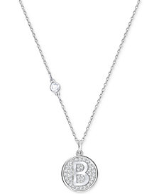 Swarovski Silver-Tone Pavé Initial Pendant Necklace