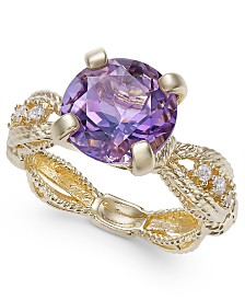 Amethyst (3-1/2 ct. t.w.) & Diamond (1/10 ct. t.w.) Ring in 14k Gold-Plated Sterling Silver (Also Available In Smoky Quartz)