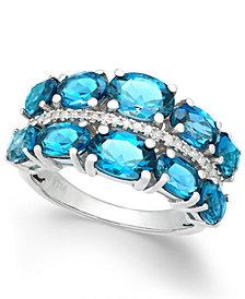 London Blue Topaz (6-3/8 ct. t.w.) & Diamond (1/8 ct. t.w.) Ring in Sterling Silver
