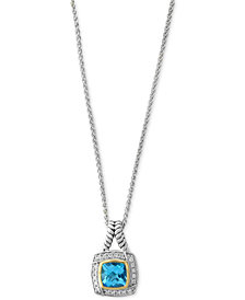 EFFY® Blue Topaz (1-9/10 ct. t.w.) & Diamond (1/8 ct. t.w.) Pendant Necklace in Sterling Silver & 18k Gold