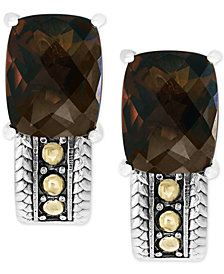 EFFY® Smoky Quartz Drop Earrings (6-1/5 ct. t.w.) in Sterling Silver and 18k Gold
