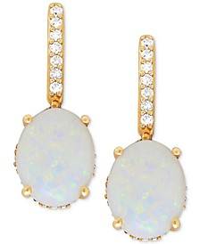 Opal (2 ct. t.w.) & Diamond (1/5 ct. t.w.) Drop Earrings in 14k Gold