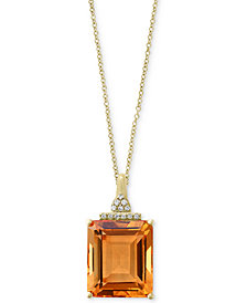 EFFY® Citrine (12-1/3 ct. t.w.) & Diamond Accent Pendant Necklace in 14k Gold