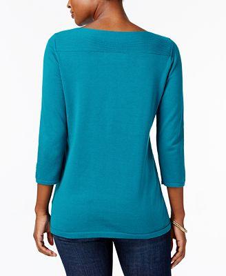 Karen Scott Boat Neck Cotton Sweater Created For Macys Sweaters