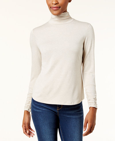 Style & Co Petite Mock-Neck Ruched-Sleeve Top, Created for Macy's