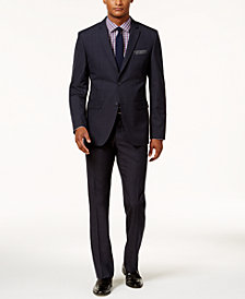 Perry Ellis Men's Slim-Fit Navy Tonal Plaid Suit