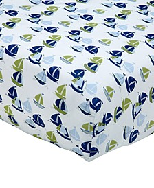Zachary  100% Cotton Sailboat-Print Fitted Crib Sheet