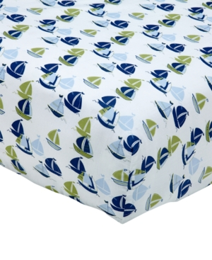 Nautica Zachary 100 Cotton SailboatPrint Fitted Crib Sheet Bedding