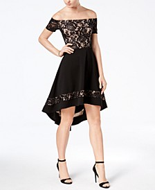Juniors' Off-The-Shoulder High-Low Dress