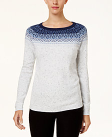Karen Scott Patterned Yoke Sweater, Created for Macy's