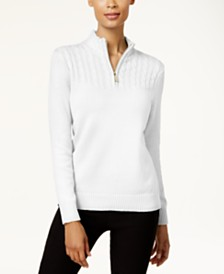 Karen Scott Petite Cotton Half-Zip Sweater, Created for Macy's