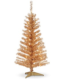 4' Champagne Tinsel Tree With Plastic Stand & 70 Clear Lights