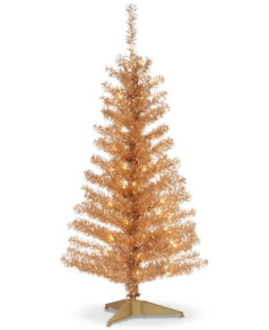 National Tree Company 4 Champagne Tinsel Tree With Plastic Stand  70 Clear Lights