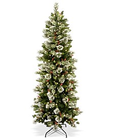 6.5' Wintry Pine Slim Hinged Tree With Folding Stand & 300 Clear Lights