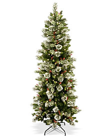 National Tree Company 6.5' Wintry Pine Slim Hinged Tree With Folding Stand & 300 Clear Lights