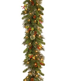 9' Wintry Pine Garland With Cones, Red Berries, Snowflakes & 100 Clear Lights