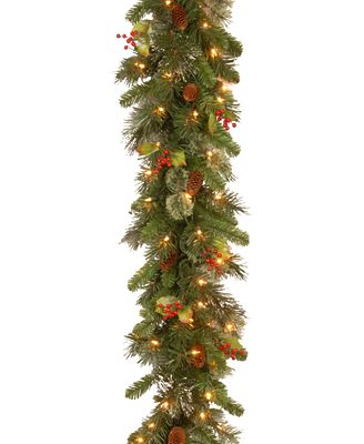 National Tree Company 9' Wintry Pine Garland With Cones, Red Berries, Snowflakes & 100 Clear Lights