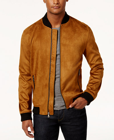 INC International Concepts Men's Zander Faux Suede Bomber Jacket ...