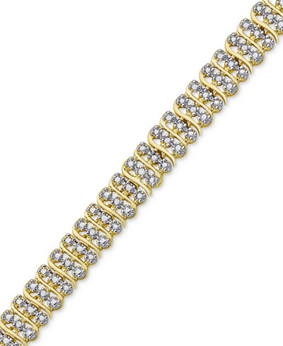 Diamond Accent Two-Tone Circle Link Bracelet in 18k Gold-Plate and Rhodium-Plate
