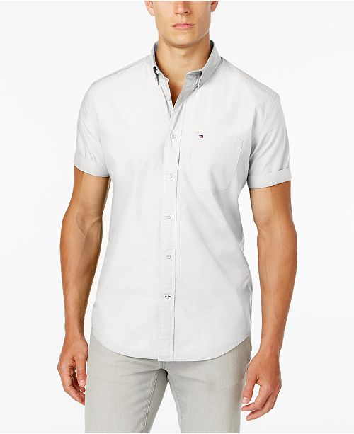 733871e2 Tommy Hilfiger Men's Maxwell Short-Sleeve Button-Down Classic Fit Shirt,  Created for