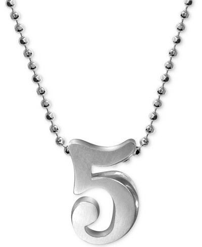 Alex Woo Number 5 Pendant Necklace in Sterling Silver