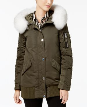 Image of 1 Madison Expedition Fox-Fur-Trim Bomber Coat