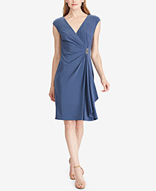 American Living Cap-Sleeve Draped Brooch Dress